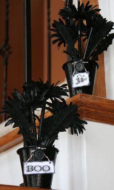 How to Make Black Flower Arrangements for Halloween #Halloween #DIY #blackflowers #joyslifestamps