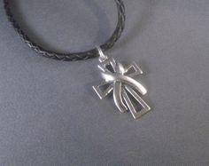 Silver cross with Awareness Ribbon pendant