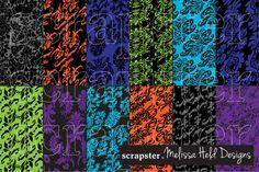 Halloween Distorted Damask Patterns by scrapster on Creative Market