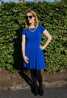 ASOS blue skater dress. See more here: http://www.kathrinerostrup.dk/2013/08/bring-on-the-blue/