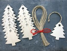 Christmas Tree Wooden Gift Tag Hanging Decoration Rustic Craft Shape | eBay £3.95 for 10. To do with the girls