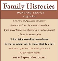 Family Histories - The ideal gift for the ones you love .  1.5 hr recording. View website for prices.