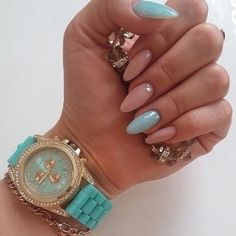 In seek out some nail designs and ideas for your nails? Here is our set of must-try coffin acrylic nails for cool women. Almond Acrylic Nails, Best Acrylic Nails, Almond Nails, Acrylic Nail Designs, Nail Art Designs, Aycrlic Nails, Blue Nails, Hair And Nails, Nail Nail