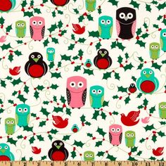 Part of the Michael Miller retro Holiday fabric set - Christmas and owls?  WANT IT!
