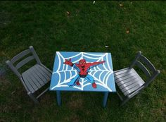 Spiderman table I painted my son