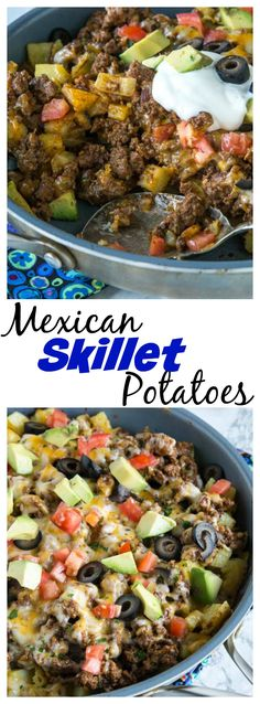 Mexican Skillet Potatoes – a quick and easy one pan Mexican recipe. Crispy potatoes, taco meat, salsa, cheese and more! So much better than just regular tacos.