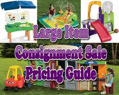 Great children's consignment sale pricing guide for large items, toys, and baby equipment! Garage Sale Tips, Baby Equipment, Making Life Easier, Consignment Shops, Price Guide, Children's Boutique, Getting Organized, Toys For Girls, Good To Know