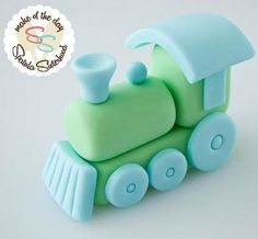Step by step directions for a fondant or gum paste train cake topper Fondant Cake Toppers, Fondant Figures, Fondant Cakes, Cupcake Toppers, Cupcake Cakes, Fondant Baby, Mini Cakes, Simple Fondant Cake, 3d Cakes