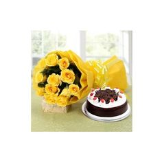 12 Yellow Roses with Half Kg Cake via Polyvore featuring home and kitchen & dining