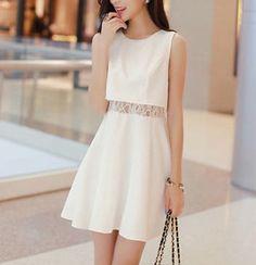 Women's Lace Mid Baring Sleeveless Dress