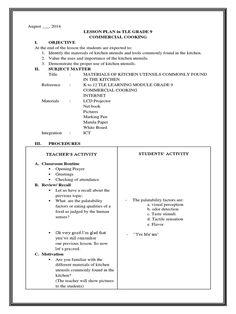 Detailed Lesson Plan in Tle Kitchen Utensils and Equipment 4a's Lesson Plan, Lesson Plan In Hindi, Lesson Plan Format, Lesson Plan Examples, English Lesson Plans, Science Lesson Plans, Teacher Lesson Plans, Free Lesson Plans, Lesson Plan Templates