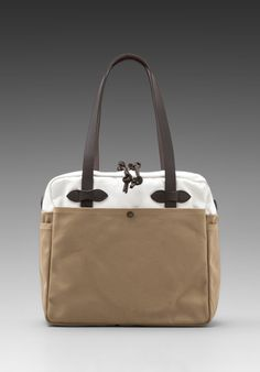 FILSON Canvas Zip Top Tote Bag in Tan/ White - Bags