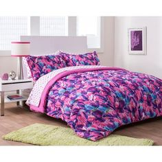 mainstays kids butterfly floral bed in a bag bedding set - walmart