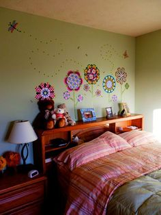 Pretty girls bedroom with Flower Power wall art by WallPops!