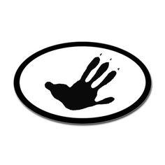 Opossum Track Pawprint Euro Decal on CafePress.com
