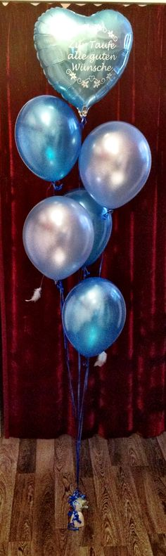 Christening balloon decoration for a baby boy made by Princess Dreams.