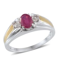 John Saul Ruby (Ovl 1.75 Ct), White Topaz Men's Ring in 14K YG Overlay Sterling Silver (Size 12) TGW 2.25 Cts. | Fashion | Rings | Jewelry | Online Store | Liquidation Channel Site