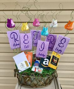 Retirement gift basket with gift cards: Relax, Eat, Travel, Indulge, Read, Enjoy!