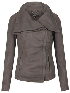 "Muubaa Lenexa Cowl Leather Jacket in Sparkling Grey    I love a good leather jacket. A ""good"" one"