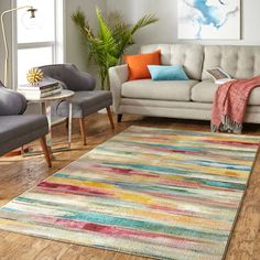 Mohawk Home Prismatic Spring Window Multi Area Rug - x x - Linen), Blue (Polyester, Stripe) Colorful Rugs, Online Home Decor Stores, Haderslev, Rugs, Mohawk Home, Vibrant Rugs, Spring Window, Entryway Decor, Area Rugs