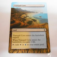 MTG Altered Painted Tranquil Cove Khans of Tarkir #WizardsoftheCoast