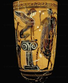 Oedipus solves the riddle of the sphinx. Black-figured lekythos from Thebes, early 5th BCE Terracotta, height: 32.1 cm, diameter: 10.8 cm Inv. CA 1705   Louvre, Departement des Antiquites Grecques/Romaines, Paris, France