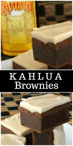 Fudgy Kahlua Brownies with Browned Butter Kahlua Icing recipe - from RecipeGi. Chocolate Chip Cookies, Chocolate Brownies, Homemade Chocolate, Chocolate Desserts, Fudgy Brownies, Cake Brownies, Birthday Brownies, Chocolate Squares, Chocolate Icing