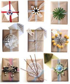 Seasonal packaging. Ribbon and nature