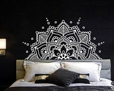 Half Mandala Wall Decal Headboard Master Bedroom Boho Bohemian Decor Vinyl Sticker Yoga Studio Namaste Ornament Mandala Decals Decor F129