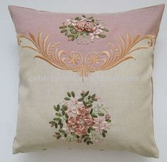 ribbon embroidery | -made elegant ribbon embroidery cushion cover, View ribbon embroidery ...