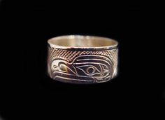 """Eagle Ring, Val Lancaster, Namgis. Hand carved sterling silver, 0.38"""". Northwest Coast First Nations Jewelry."""