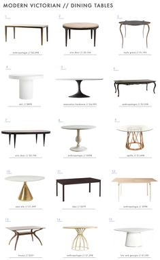 Modern Victorian Style: Furniture + Our Favorites Roundup - Emily Henderson- The best modern victorian dining tables the internet has to offer! Modern Victorian Decor, Victorian Style Furniture, Victorian Interiors, Victorian Dining Tables, Dining Room Decor Elegant, Dining Room Paint Colors, Dining Room Table Centerpieces, Dining Room Furniture, Furniture Stores