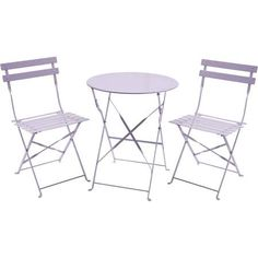 Charles Bentley Folding Metal Bistro Set - Lilac