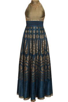 Navy and gold zardozi work digital printed anarkali set available only at Pernia's Pop Up Shop.