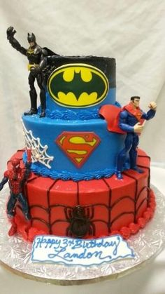 Superhero cake! Including (Bottom to top) Spiderman, Superman, and Batman. This is awesome! by Sherri32