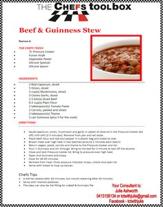 Pressure Cooker Recipes, Pressure Cooking, Healthy Food, Yummy Food, Healthy Recipes, Guinness Beef Stew, Crockpot Recipes, Cooking Recipes, Cooking Stove