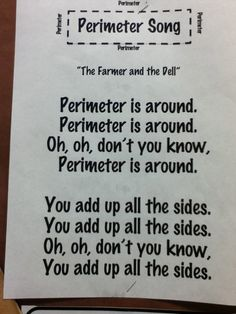 This perimeter song would be good even for my fifth graders-----I need to put this on SmartBoard or make an anchor chart.  (didn't see it on the link but could be operator error. . . .  :)