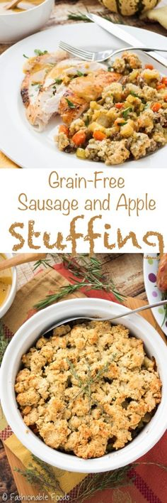 A healthy twist on everyone's favorite Thanksgiving side dish! This grain-free sausage and apple stuffing uses almond flour to create a bread-like texture that will satisfy everyone!