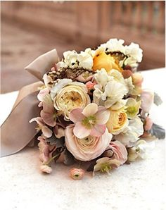 love the neutral brown tone of the ribbon and the blush colored flowers...so pretty and perfect for the fall