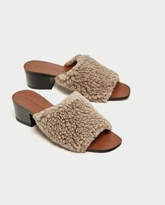 142c477bdb14 Image 1 of FAUX FUR HIGH HEEL MULES from Zara Fall Winter Shoes
