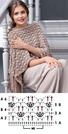 Crochet Lace Scarf, Crochet Poncho Patterns, Crochet Quilt, Crochet Chart, Shawl Patterns, Crochet Scarves, Crochet Clothes, Crochet Stitches, Knit Crochet