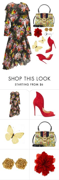 """Pijonina Scalloped"" by jacque-reid ❤ liked on Polyvore featuring Preen, Christian Louboutin, Gucci, Liberty, christianlouboutin, gucci, preen and libertylondon"