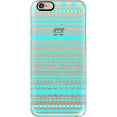 iPhone 6 Plus/6/5/5s/5c Case - Turquoise Modern Aztec Transparent