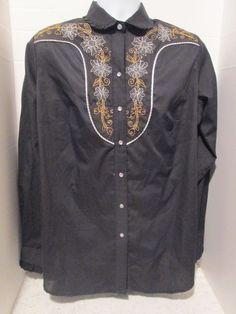 4b2044b2f46 Plus Size Women s 2XL Vintage Rockmount Black Western Pearl Snap Shirt Gold