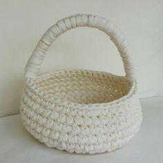 "crochet fabric easter basket, 12"" diameter; 5"" ht."