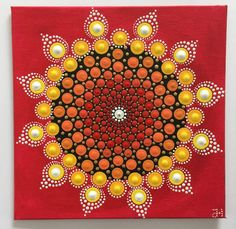 Acrylmalerei - Mandala Dotilism Sonne - ein Designerstück von Shivajyoti bei DaWanda