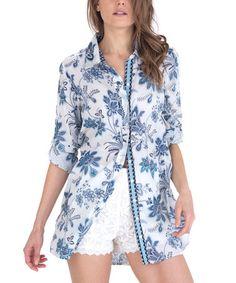 White & Blue Floral Boyfriend Button-Up #zulily #zulilyfinds