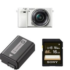 Sony Alpha a6000 Mirrorless Digital Camera (White) with 16-50mm Power Zoom Lens and Battery Pack and 16GB Memory Card Bundle