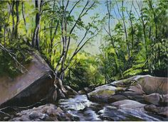 """"""" Late Day Glow""""  $490.00 12"""" X 9""""  Acrylic on Canvas.  This was a painting I did in July of 2015 at Stevensville Brook in Underhill Vermont.  The beautiful late day light shining through the leaves caught my attention and I couldn't help but put paint and brush to canvas.  #SceneryArt, #Vermont, #LandscapeArt,  www.mylissak.com"""