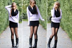 Short skirt/dress with military boots --> girly without being too chique!
